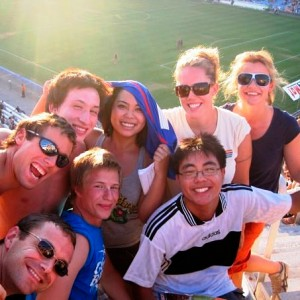 Students enjoying a cultural outing to watch Montpellier football team