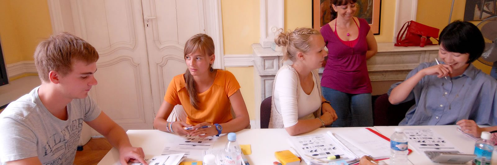 students at a typical a French lesson