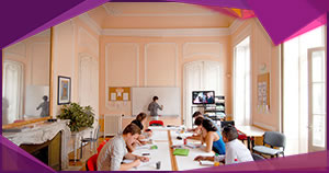 Students studying in a beautiful 18th century classroom in the south of France