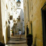 Charming travertine streets in the historic center of Montpellier